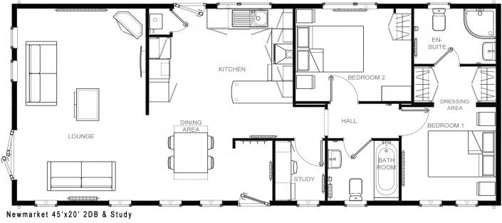 Park Home Floor Plan Newmarket 45x20 2DB Study floorplan