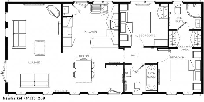 Newmarket 40x20 2DB floorplan