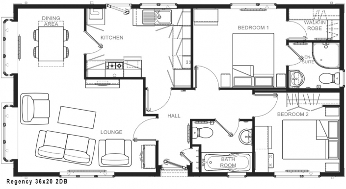 Regency 36' x 20' 2DB floorplan