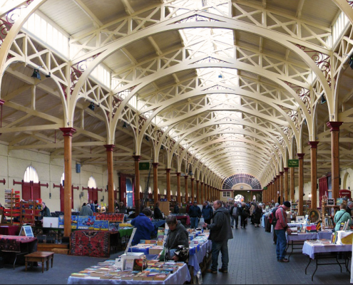 The Pannier Market in Barnstaple, North Devon. This was built as a vegetable market in 1855-6, and is now used for a variety of market functions.