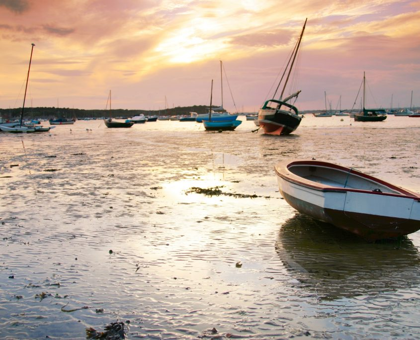 boats at sunset in Poole, Dorset