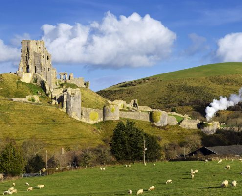 ruins of Corfe Castle near Swanage on the Isle of Purbeck in Dorset.
