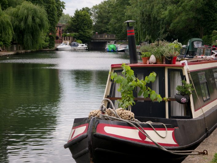 Narrow Boat on River Lea, Hertfordshire