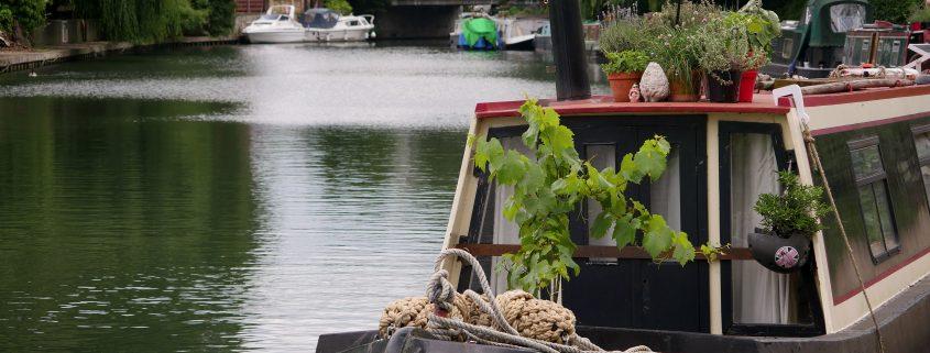 Narrow Boat on River Lea, Hertfordshire