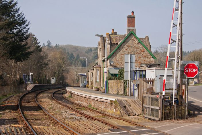 The old railway station building at Eggesford in mid Devon UK on the picturesque line running through the heart of Devon linking Exeter in the south with Barnstaple, Devon